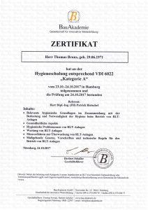 Hygieneschulungszertifikat nach VDI 6022 der BauAkademie für Herrn Thomas Bruns